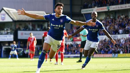 Macauley Bonne celebrates after scoring to level the game at 2-2.